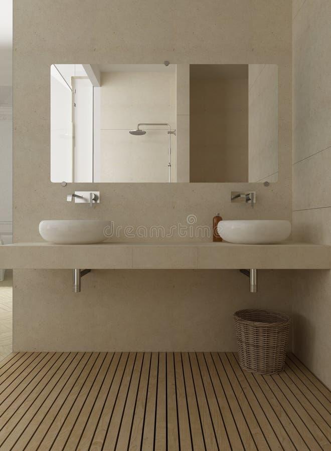Klassieke badkamers, wasbak met twee gootstenen en spiegel, houten FL royalty-vrije illustratie