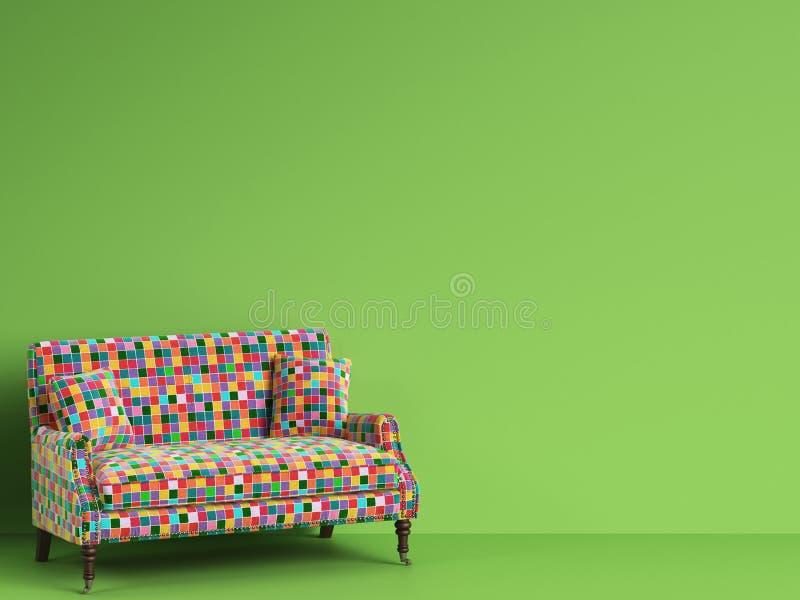 Klassieke bank in veelkleurige flardenstof op groene wi als achtergrond vector illustratie