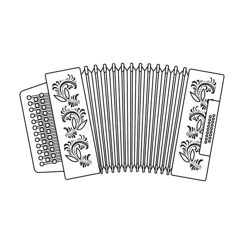 Klassieke bayan, harmonika of harmonisch die pictogram in overzichtsstijl op witte achtergrond wordt geïsoleerd Russische het sym royalty-vrije illustratie