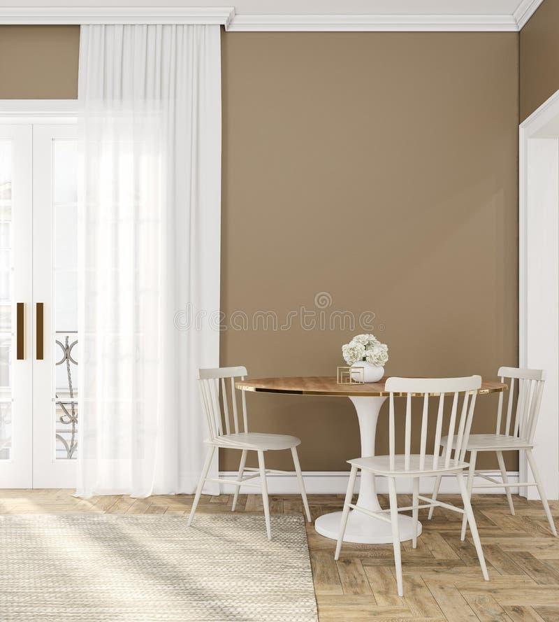 Klassieke beige lege binnenlandse ruimte met dinerlijst, stoelen, gordijn, houten vloer en bloemen royalty-vrije illustratie