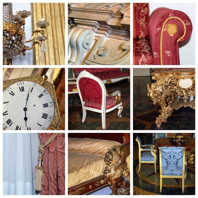 Klassieke binnenlandse collage stock afbeeldingen