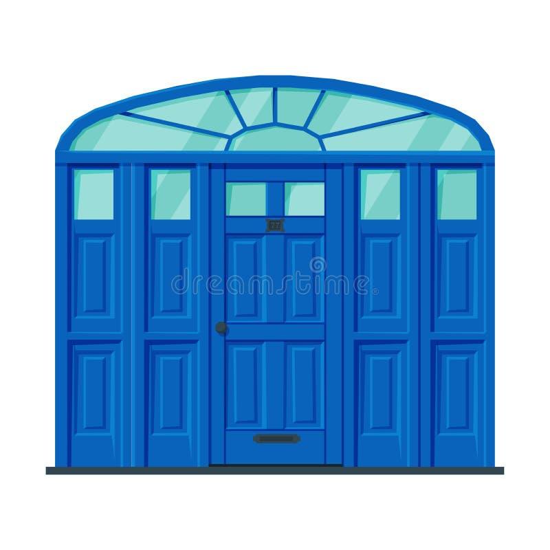 Klassieke blauwe deur, Vintage Style Facade Design Element Vector Illustratie stock illustratie
