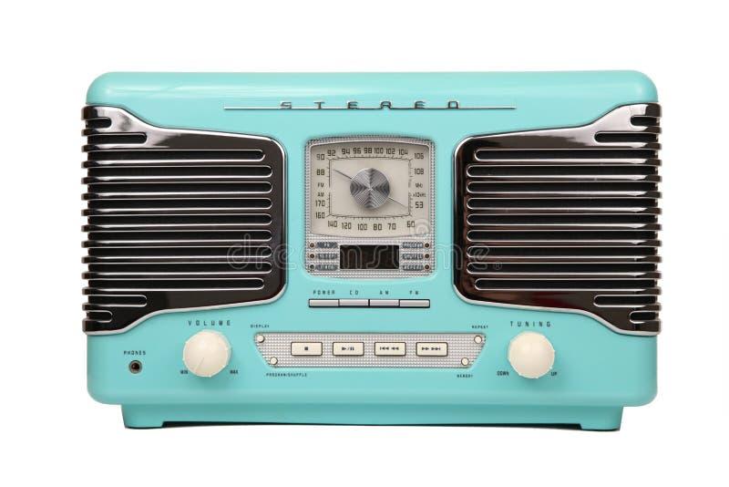 Klassieke blauwe retro geïsoleerdeo radio stock fotografie