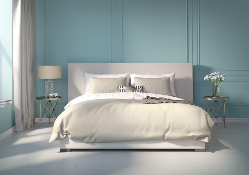 Klassieke Blauwe Slaapkamer Met Witte Vloer Stock Illustratie ...