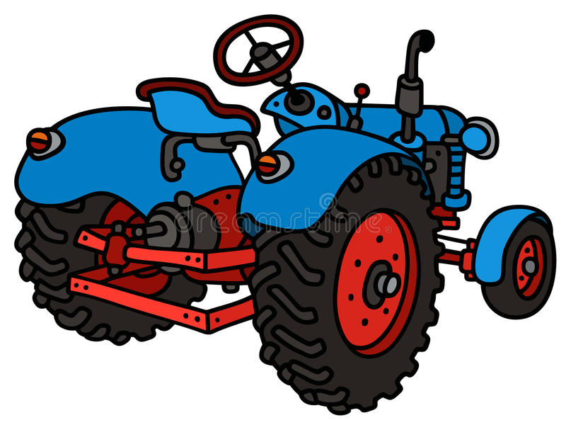 Klassieke blauwe tractor vector illustratie