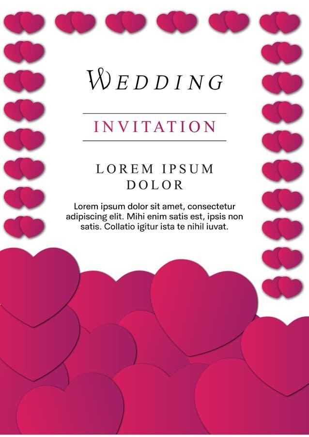 Klassieke bloemen roze het huwelijksuitnodiging van het kleurenhert royalty-vrije illustratie