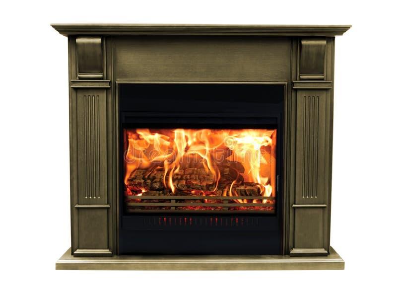 Klassieke bruine brandende die open haard op witte achtergrond wordt geïsoleerd royalty-vrije stock afbeelding