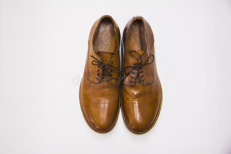 Klassieke bruine leer mannelijke schoenen van hierboven royalty-vrije stock afbeeldingen