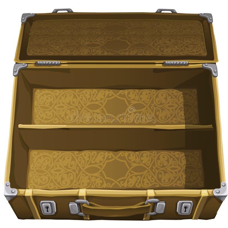 Klassieke bruine lege koffer voor reis Vector stock illustratie