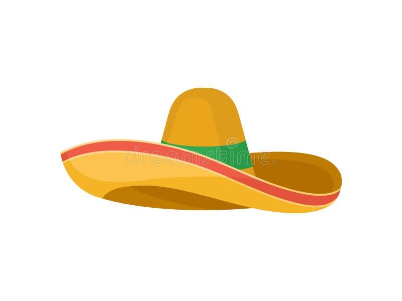 Klassieke bruine strosombrero Traditioneel Mexicaans hoofddeksel Breed-Brimmed hoed Vlak vectorontwerp stock illustratie