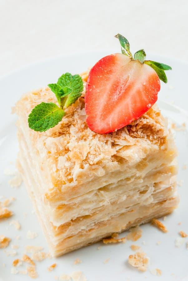 Klassieke cake - Napoleon of millefeuille stock fotografie