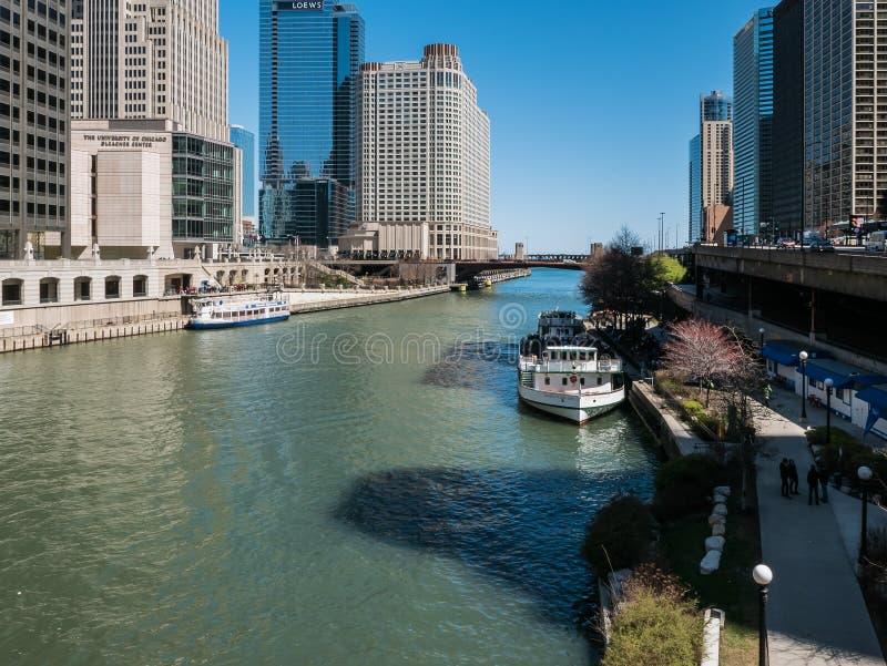 Klassieke de Dameveerboot van Chicago op de Rivier van Chicago royalty-vrije stock fotografie