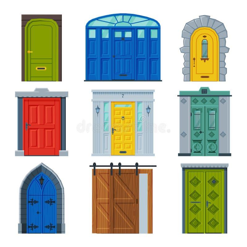 Klassieke deuropenzameling, Vintage en Moderne de Vectorillustratie van de Facade van het Element van het Ontwerp van de afdeling royalty-vrije illustratie