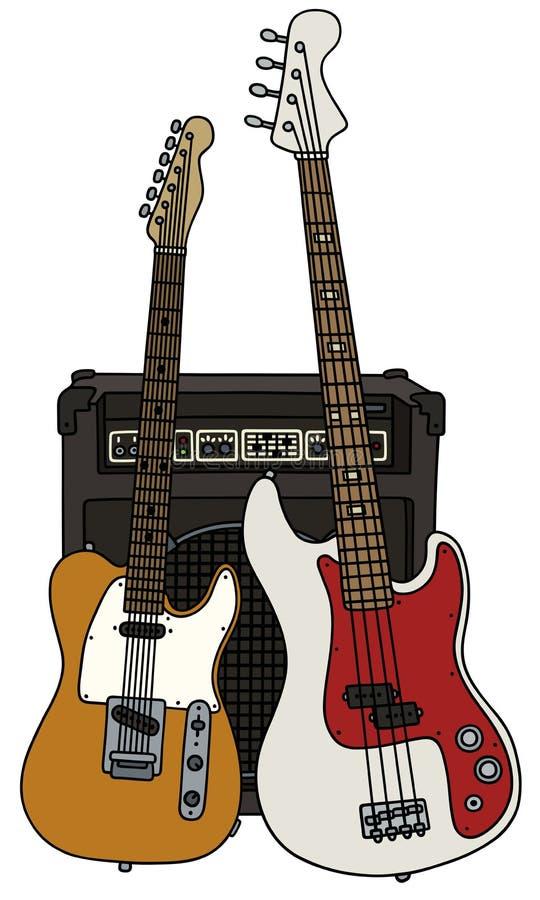 Klassieke en bas elektrische gitaren stock illustratie