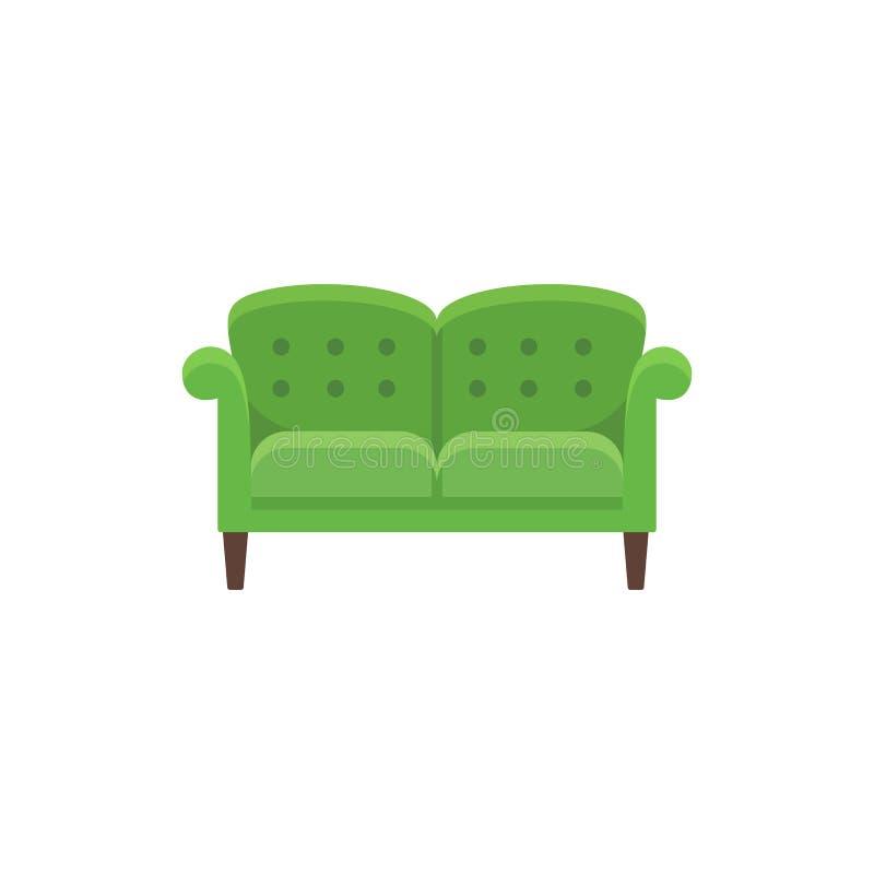 Klassieke Engelse bank Vector illustratie Vlak pictogram van groen vector illustratie