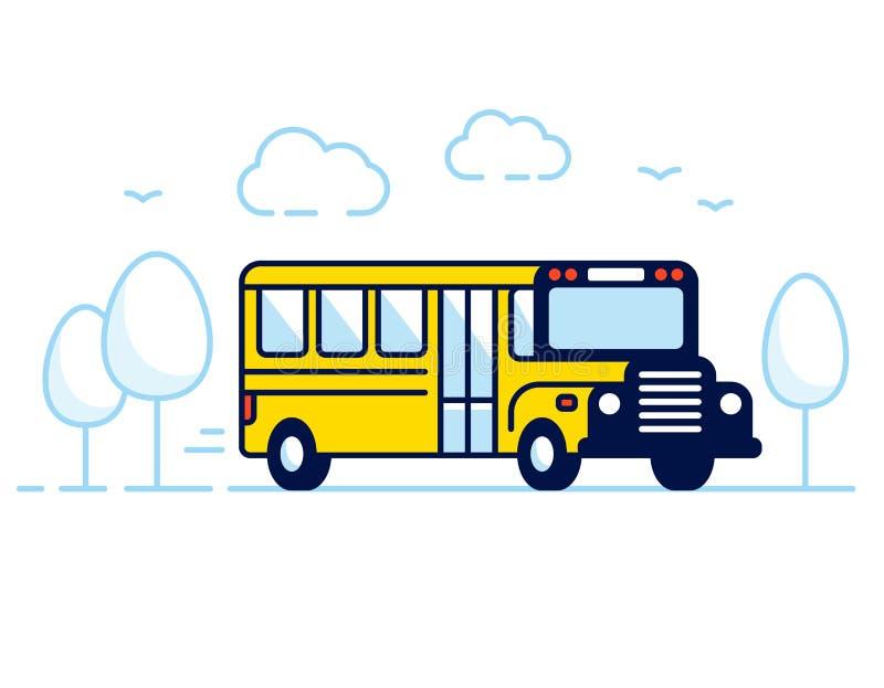 Klassieke gele schoolbus stock illustratie