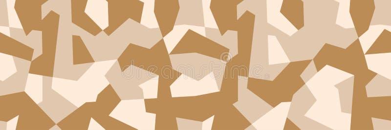 Klassieke geometrische bruine camouflage, militaire textuur, naadloos camopatroon Woestijnkleur vector illustratie