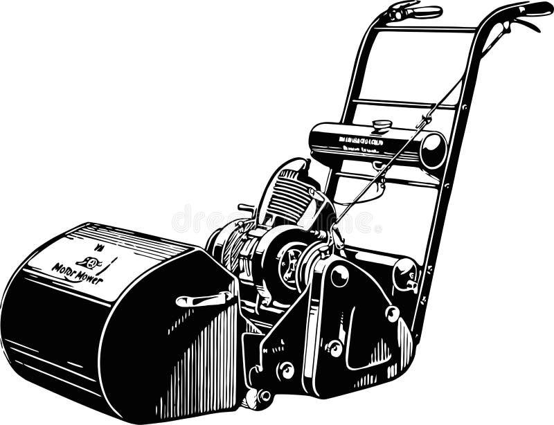 Klassieke grasmaaimachineillustratie stock afbeeldingen
