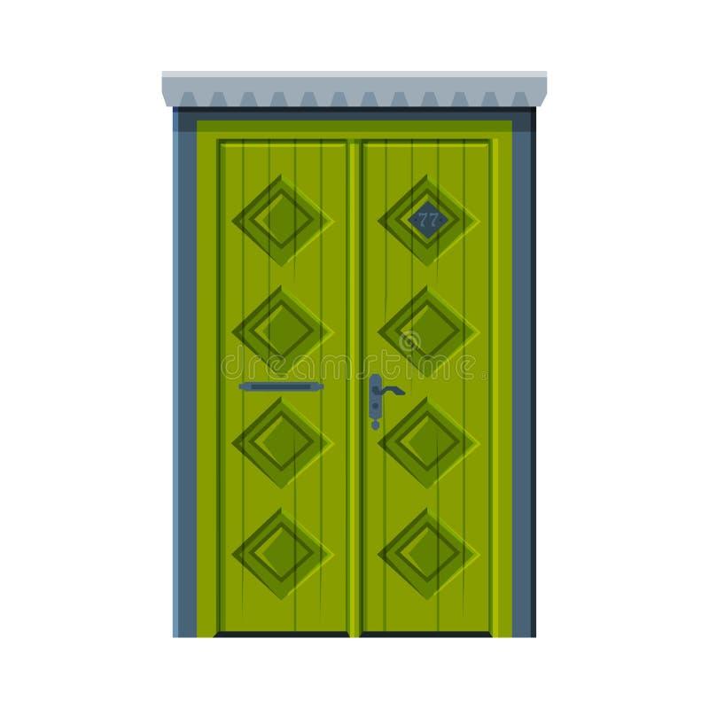 Klassieke groene dubbele deur, Vintage Style Facade Design Element Vector Illustratie stock illustratie