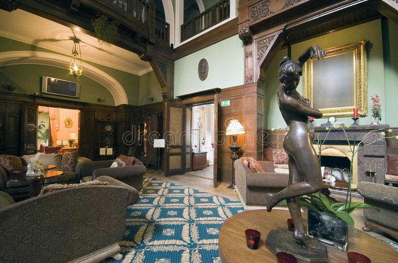 Klassieke hotelhal royalty-vrije stock fotografie