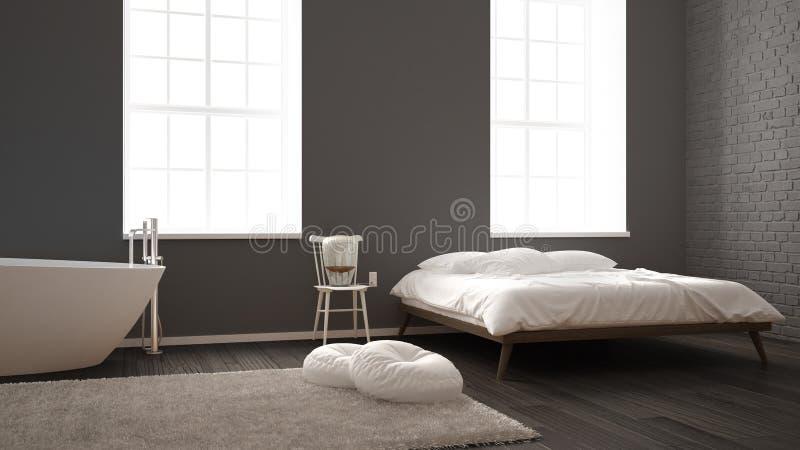 Klassieke industriële moderne slaapkamer met grote vensters, bakstenen muur, van de parketvloer en van de badkuip, witte en grijz stock illustratie