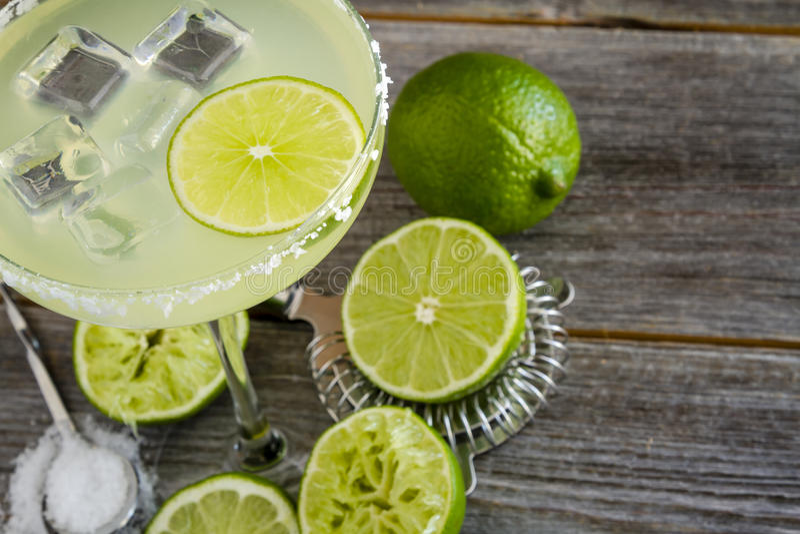 Klassieke Kalk Margarita Drinks royalty-vrije stock afbeeldingen