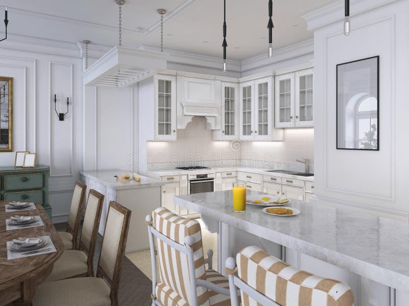 Klassieke keuken met houten en Witte details, binnenlands ontwerp stock illustratie