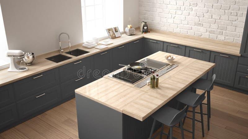 Klassieke keuken met moderne houten details en groot venster, wit en grijs minimalistic binnenlands ontwerp, hoogste mening stock afbeeldingen