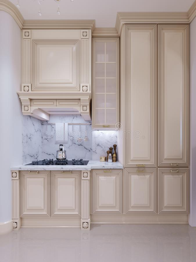 Klassieke keuken, Skandinavisch minimaal binnenlands ontwerp met woode stock illustratie