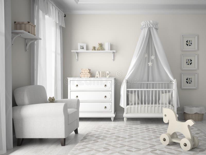 Klassieke kinderenruimte in witte kleur vector illustratie