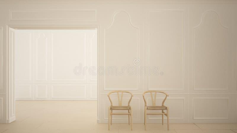 Klassieke lege ruimte met marmeren vloer en houten stoelen, wit eigentijds binnenland vector illustratie
