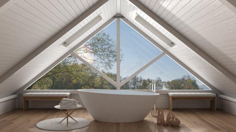 Klassieke mezzanine zolder met groot panoramisch venster, kuuroordbadkamers, stock afbeeldingen
