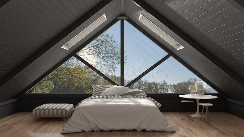 Klassieke mezzanine zolder met groot panoramisch venster, slaapkamer, summe royalty-vrije stock foto