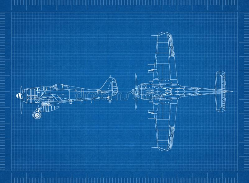 Klassieke Militaire vliegtuigblauwdruk vector illustratie
