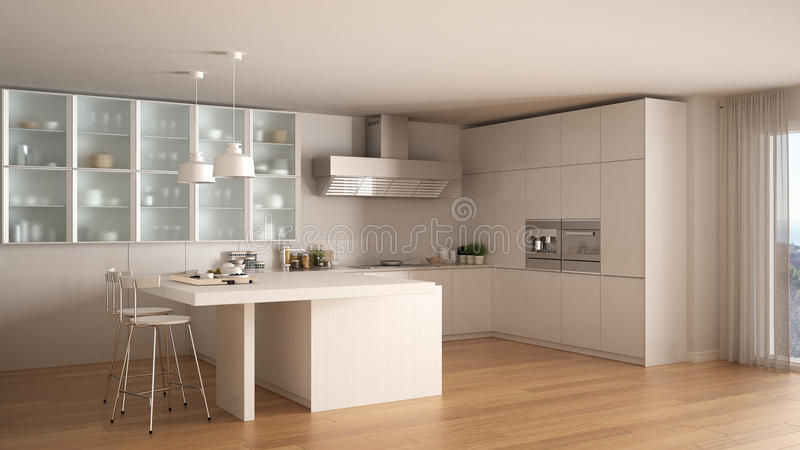 Klassieke Minimale Witte Keuken Met Parketvloer, Moderne Interio ...