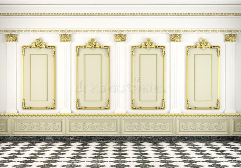 Klassieke muurachtergrond met gouden stock illustratie