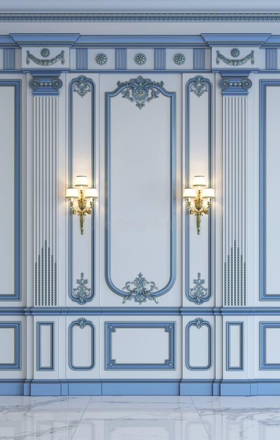 Klassieke muurpanelen in blauwe tonen met het vergulden het 3d teruggeven vector illustratie