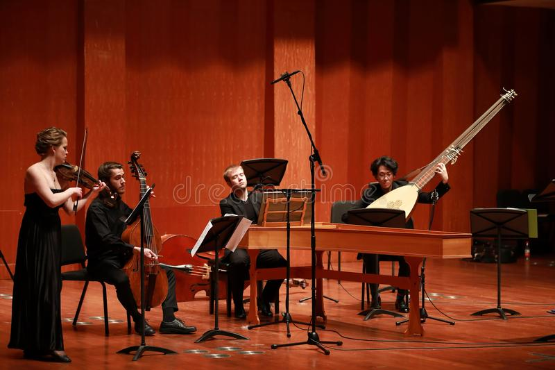 Klassieke muziek Violisten in overleg Stringed, violinistCloseup van musicus die de viool spelen tijdens een symfonie stock afbeelding