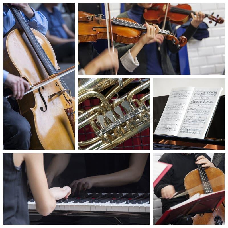 Klassieke muziekcollage stock afbeelding