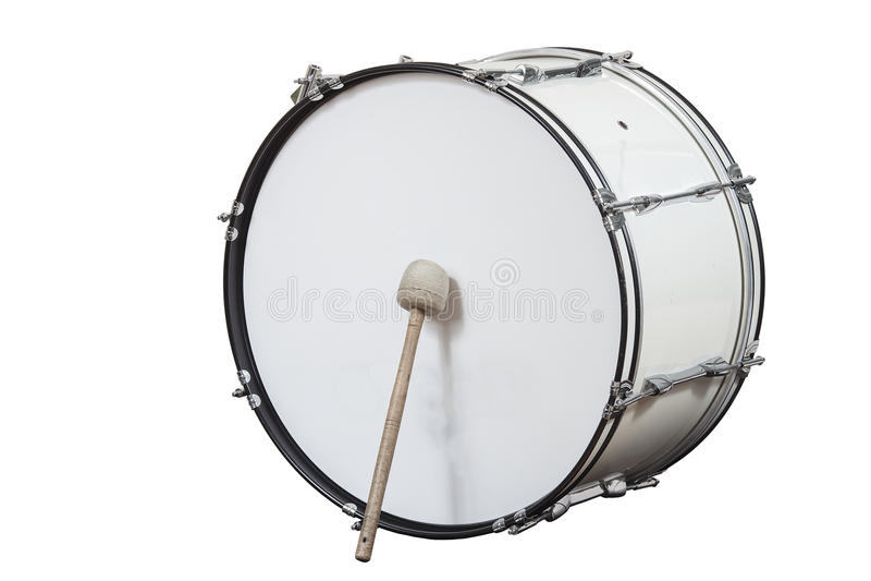 Klassieke muzikale instrumenten grote die trommel op witte achtergrond wordt geïsoleerd royalty-vrije stock afbeelding