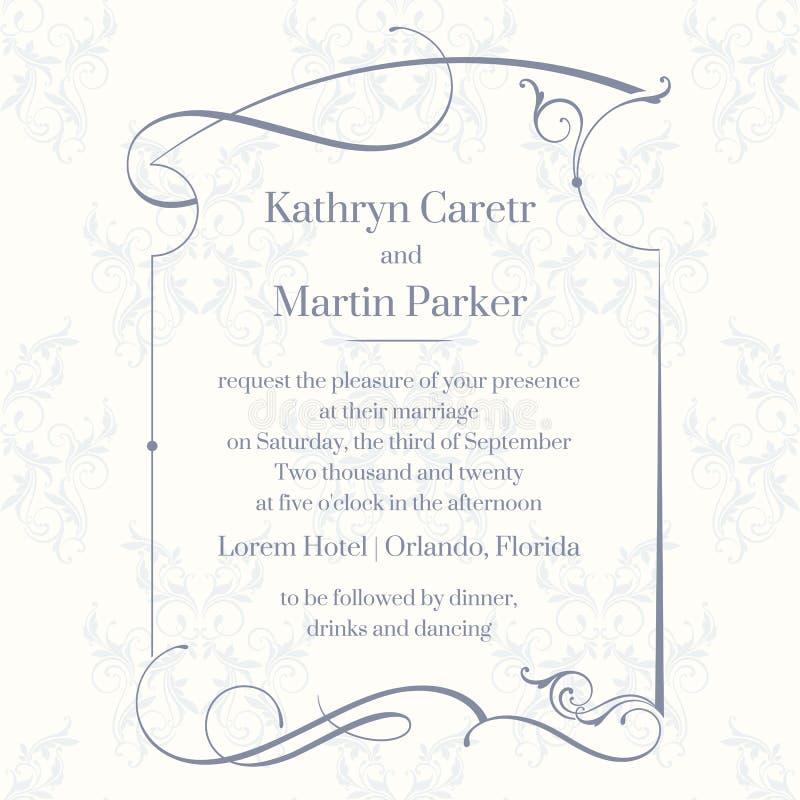 Klassieke ontwerppagina Malplaatjekaarten De uitnodiging van het huwelijk vector illustratie