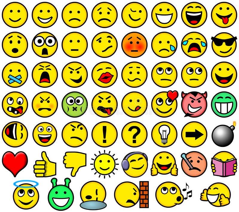 Klassieke retro stijl 54 smileys stock afbeeldingen