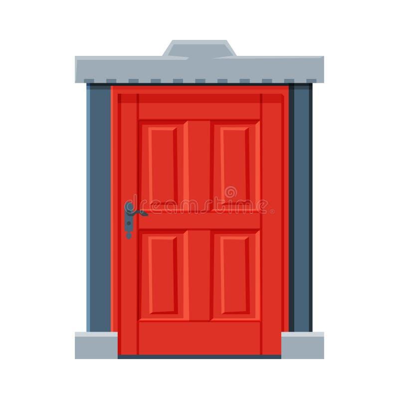 Klassieke rode deur, Vintage Style Facade Design Element Vector Illustratie royalty-vrije illustratie