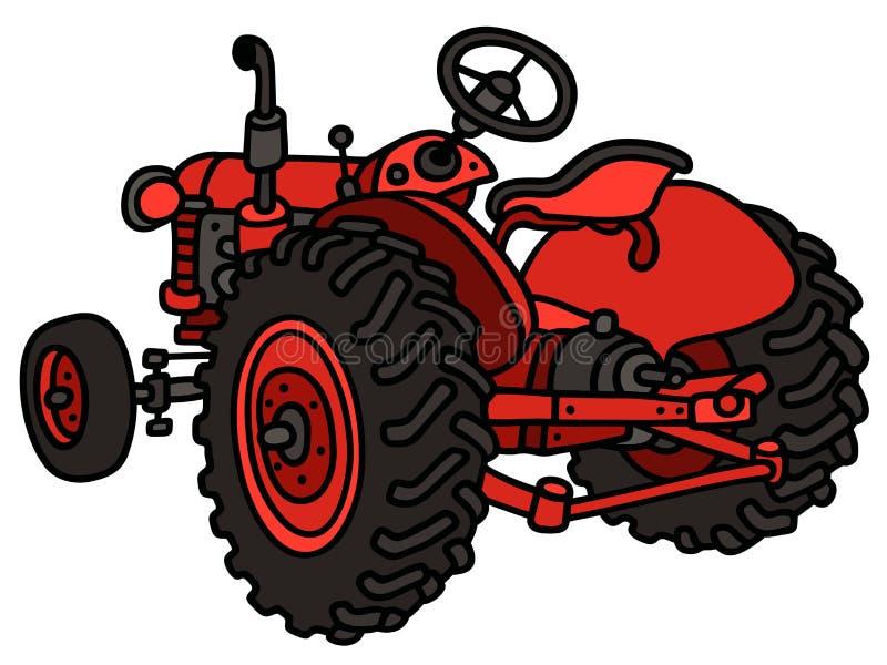 Klassieke rode tractor royalty-vrije illustratie