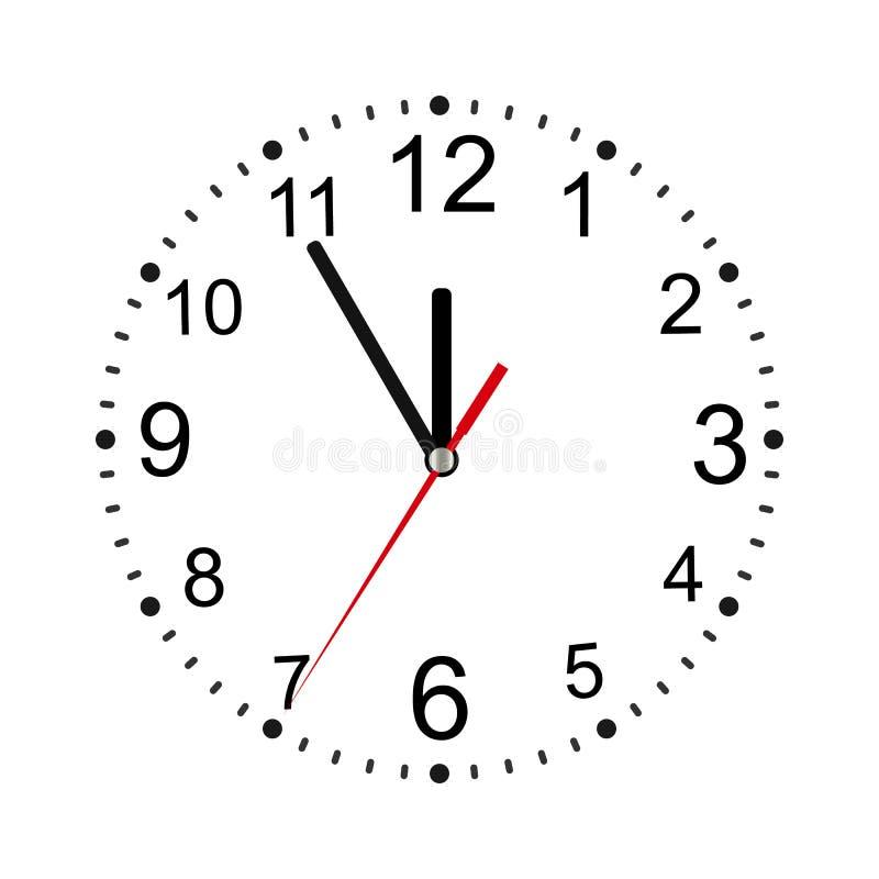 Klassieke ronde die muurklok op wit wordt geïsoleerd Lege wijzerplaat Vector illustratie vector illustratie