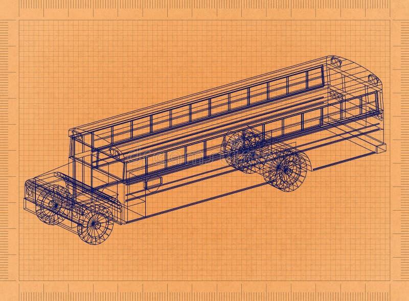 Klassieke Schoolbus - Retro Blauwdruk royalty-vrije illustratie