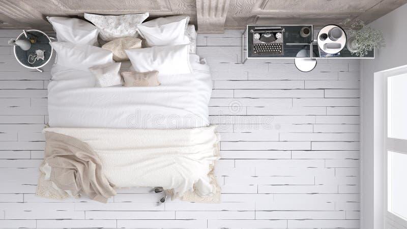 Klassieke slaapkamer, hoogste mening royalty-vrije stock fotografie