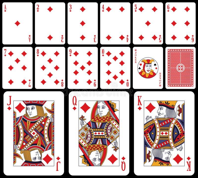 Klassieke Speelkaarten - Diams stock illustratie