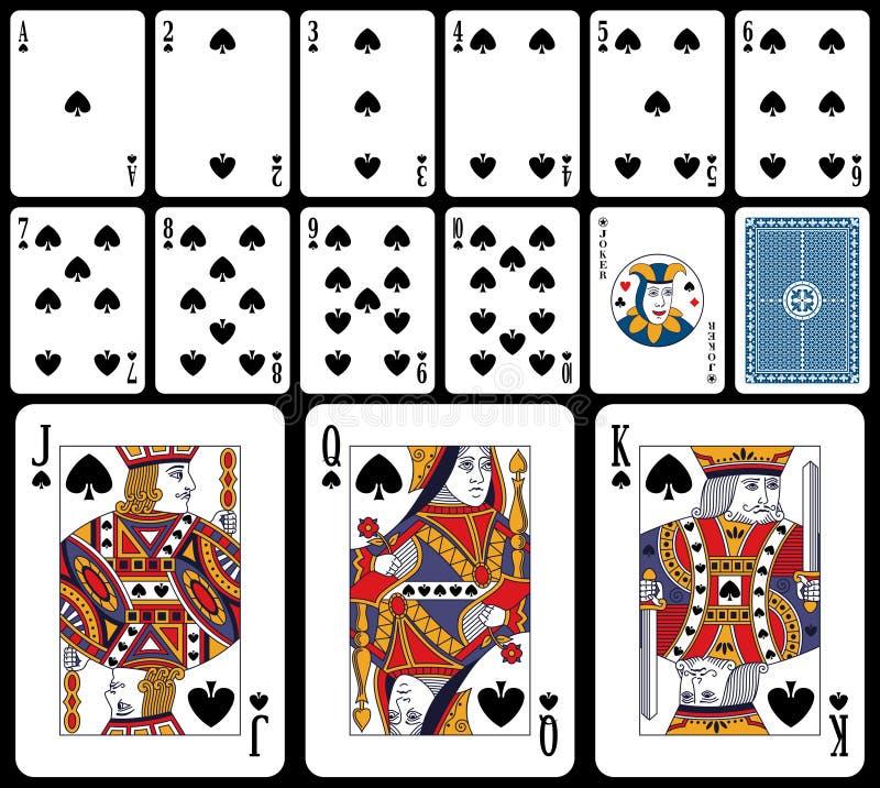 Klassieke Speelkaarten - Spades royalty-vrije illustratie
