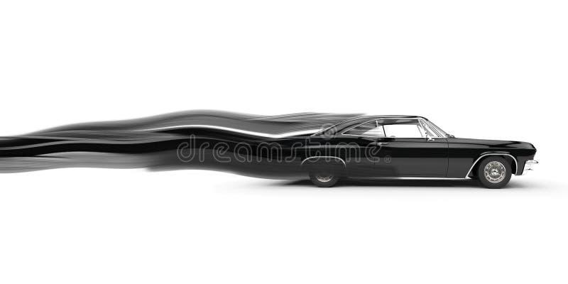 Klassieke spier zwarte auto - de slepen van de snelheidsstreep royalty-vrije illustratie
